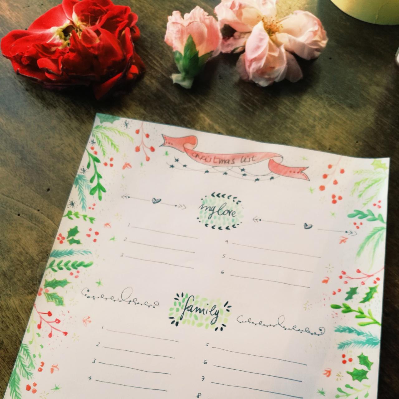 scheda Blossom zine Christmas list in download