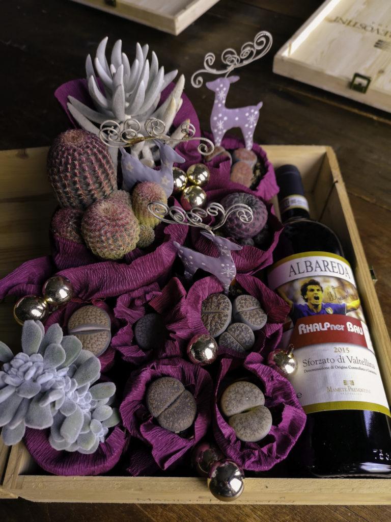 Blossomzine per cactus mania, bottiglia di vino e succulente idea regalo