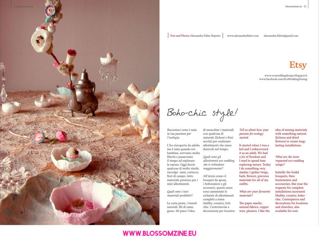 Decorazioni eco trendy, intervista Blossomzine
